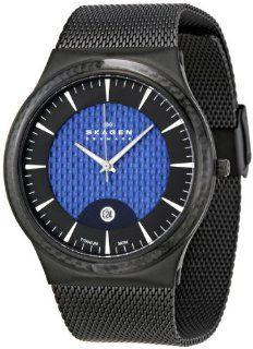 Skagen Mens 234XXLTBN Black and Blue Titanium Watch Watches