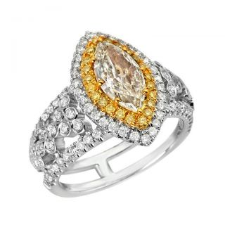 18k Two tone Gold 2 1/5ct TDW Yellow and White Diamond Ring (G H, VS1