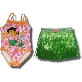 Dora and Boots Swimsuit with Grass Skirt for Toddlers   4T