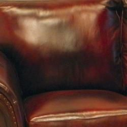 Conrad Wine Italian Leather Sofa and Two Chairs