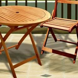 Casimir 32 Round Table and Folding Chairs Bistro Set