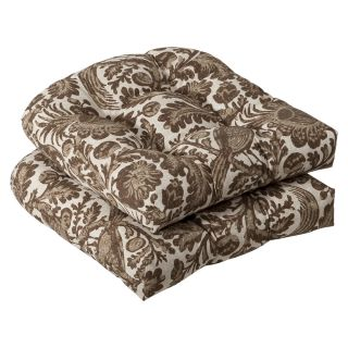 Pillow Perfect Outdoor Brown/ Beige Floral Seat Cushions (Set of 2