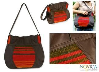 Leather and Wool Cajamarca Sunset Large Hobo Bag (Peru)