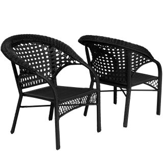 Christopher Knight Home Maria Black Wicker Fan Back Outdoor Club