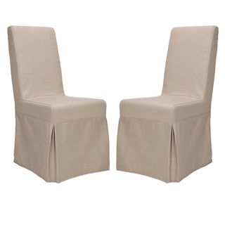 Classical Durham Taupe Slipcover Side Chairs (Set of 2)
