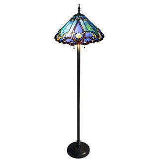 Tiffany style 2 light Bronze Victorian Floor Lamp
