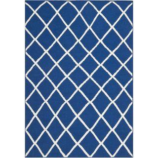 Hand woven Moroccan Dhurrie Dark Blue Wool Rug