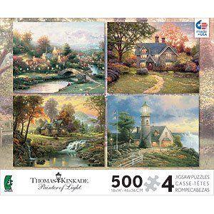 Thomas Kinkade   Set of 4 Puzzles in 1 Box Toys & Games