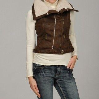 Dollhouse Womens Brown Faux Shearling Zip Vest
