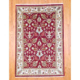 Indo Hand knotted Kazak Burgundy/ Ivory Wool Rug (6 x 9)