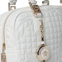 Versace Vantias Quilted White Leather Satchel Bag