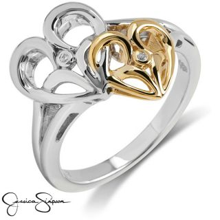 Jessica Simpson Silver and 10k Gold Diamond Accent Heart Ring