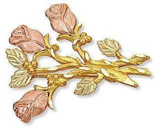 Landstroms Black Hills Gold Rose Brooch Pin   04025