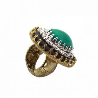 Antique Goldtone and Acrylic Large Keepsake Fashion Ring