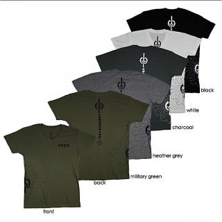 1979 Collection Mens Graphic Fleur de lis Cross V neck T shirt