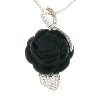 Meredith Leigh Sterling Silver Onyx Rose Necklace