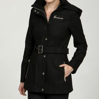 Miss Sixty Womens Black Snap Front Wool Coat FINAL SALE