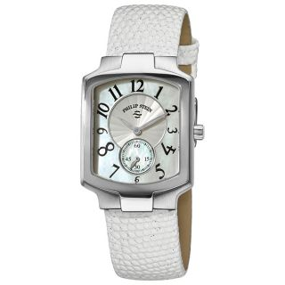 Philip Stein Womens Classic Tank Glitter White Leather Strap Watch