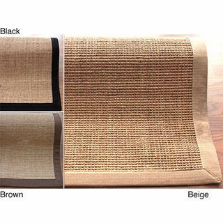 Handmade Alexa Eco Natural Fiber Cotton Border Sisal Rug (4 x 6