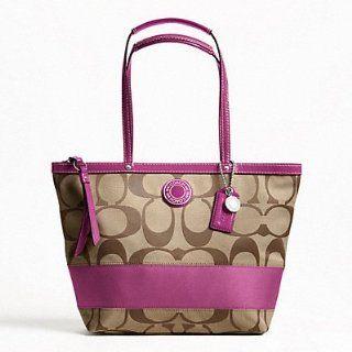 Stripe Stripe Tote Shoulder Handbag, F19046 Silver/Khaki/Berry Shoes