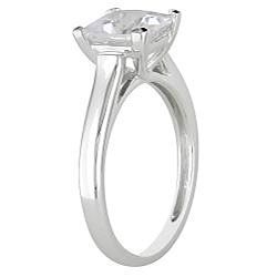 Miadora 10k White Gold Created White Sapphire Solitaire Ring