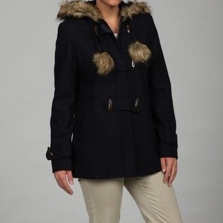 Esprit Womens Navy Faux fur Trim Jacket