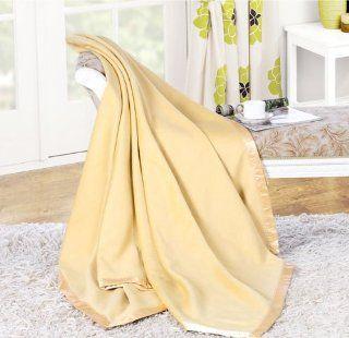 100% Mulberry Silk Blanket Silk Throw (Queen, Yellow