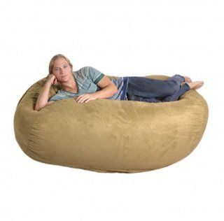 6 Foot Tan Microsuede SLACKER sack Foam Bean Bag Love Seat