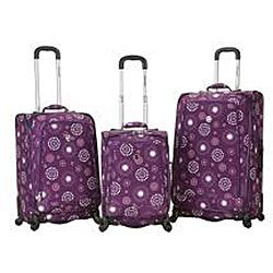 Rockland Deluxe Pearl 3 piece Spinner Luggage Set