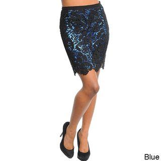 Stanzino Womens Lace Overlay Mini Skirt
