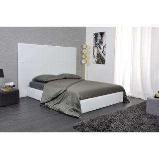 SKIN Lit 140x190 PU blanc avec grande tête de lit   Achat / Vente