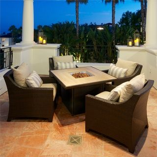 Slate 5 Piece Fire Table Seating Set Patio Furniture by RST