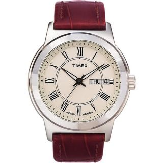 Timex Mens T2E581 Elevated Classics Dress Brown Leather Strap Watch