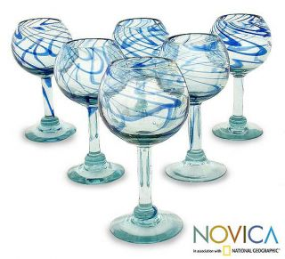 Set of 6 Blown Glass Blue Ribbon Wine Glasses (Mexico) Today $65.99