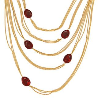 Amrita Singh Goldtone Ruby Resin Citla Necklace