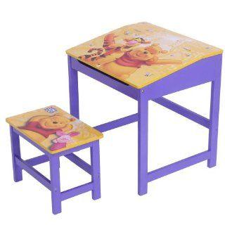 Kinder Büro Schreibtisch Pult mit Hocker aus Holz * Winnie Pooh