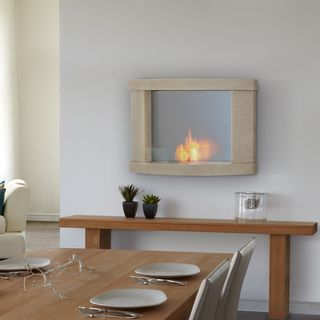 Real Flame Meridian Cream Speckle Wall Fireplace
