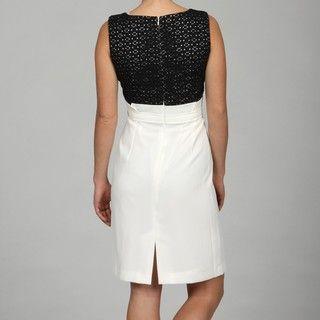 Sandra Darren Womens Black/ Ivory Lace Dress