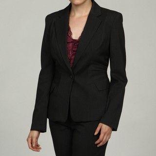 Calvin Klein Womens Charcoal Notched Collar Blazer