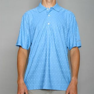 Greg Norman Mens Diamond Sky Blue Jacquard Play Dry Golf Polo