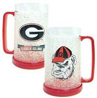 Georgia Bulldogs Freezer Mug   Set of Two Crystal Glasses