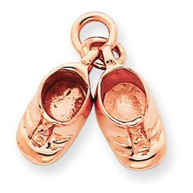 14k Gold Rose Gold Baby Shoes Charm Jewelry