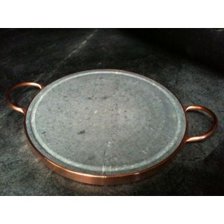 14 Inch Round Soapstone Grill With Copper Handles (Brazil) Today $81