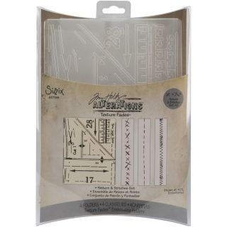Sizzix Texture Fades Embossing Pattern and Stitches Folders (Pack of 4