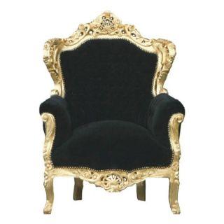 Prunk Sessel Barock Stil Louis XIV Antik Look König Schwarz/Gold