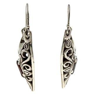 Lily B Sterling Silver Garnet Antiqued Heart Earrings