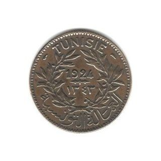 1924 Tunisia 2 Francs Coin KM#248