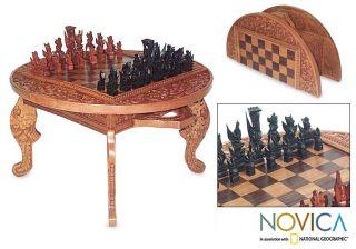 Wood Ramayana Flowers Chess Set (Indonesia)