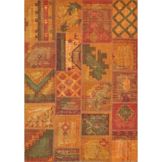 Hand woven Ava Wool Gold Patchwork Rug
