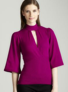 Tracy M Collar band sweater in wine